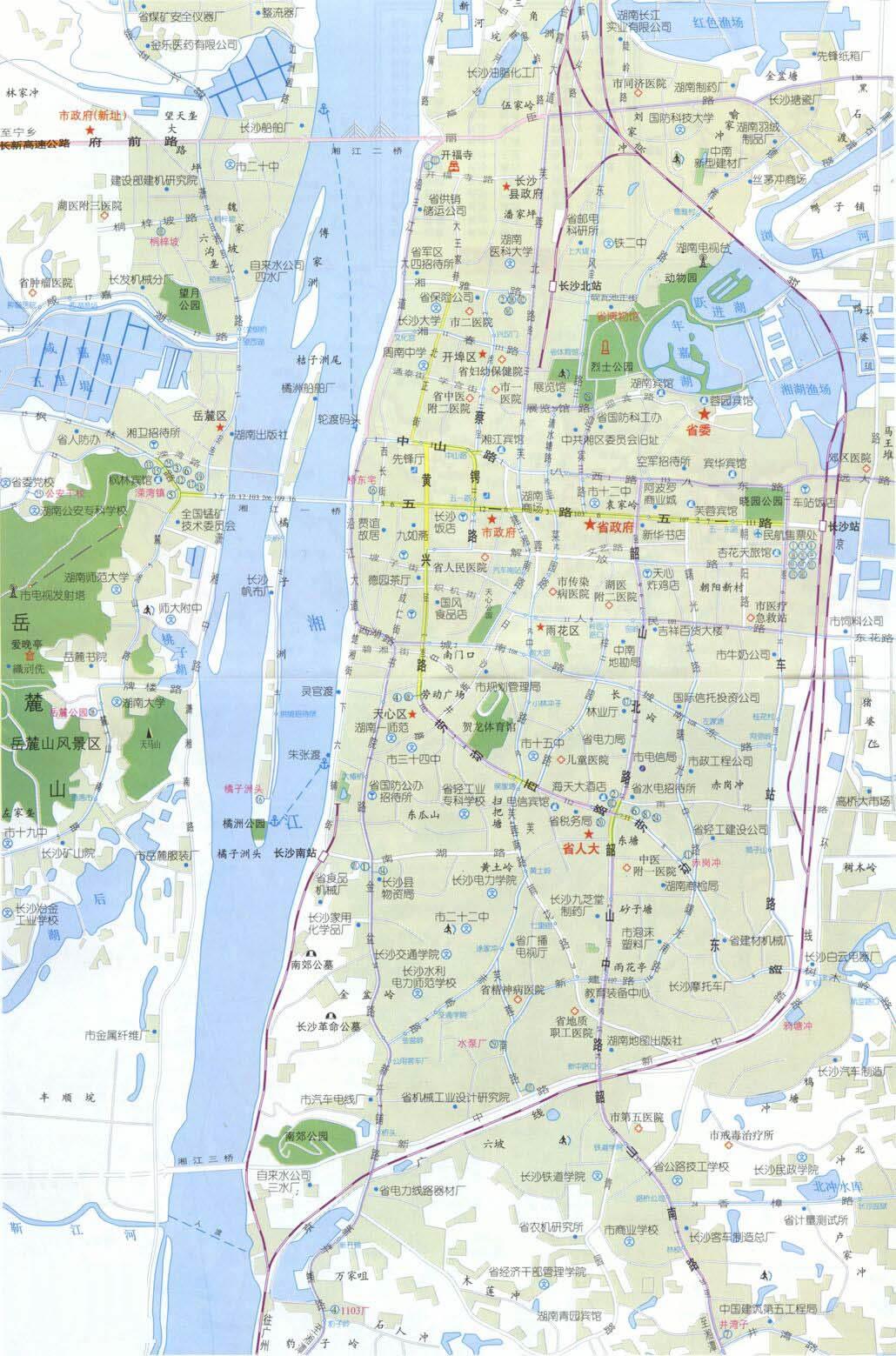 湖南长沙市旅游地图