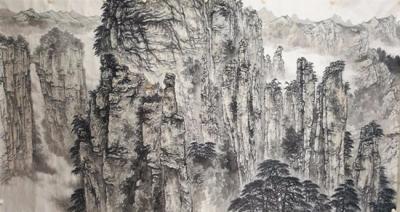 《锦绣张家界》巨幅中国画创作昨日在张家界学院杀青